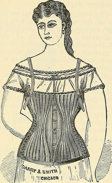 This poor young lady is sure to be injured. Her corset is a rib-breaking machine.