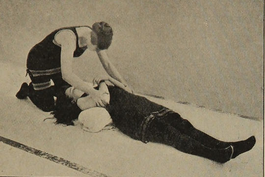Trainee nurse reviving a patient.