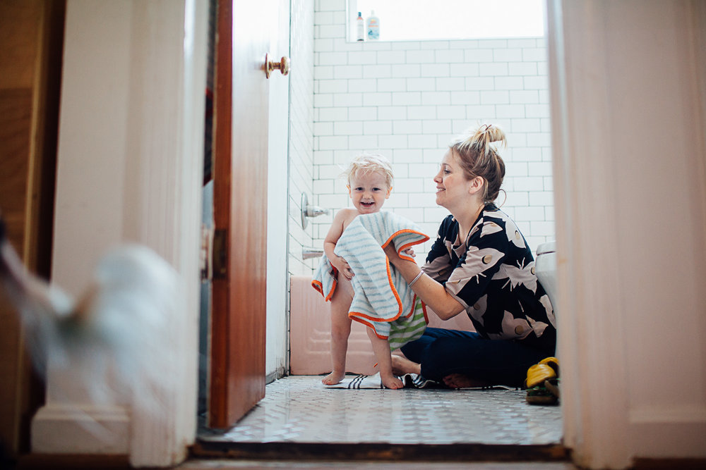 boy and mama after bath by Maryland Documentary photographer Juliette Fradin