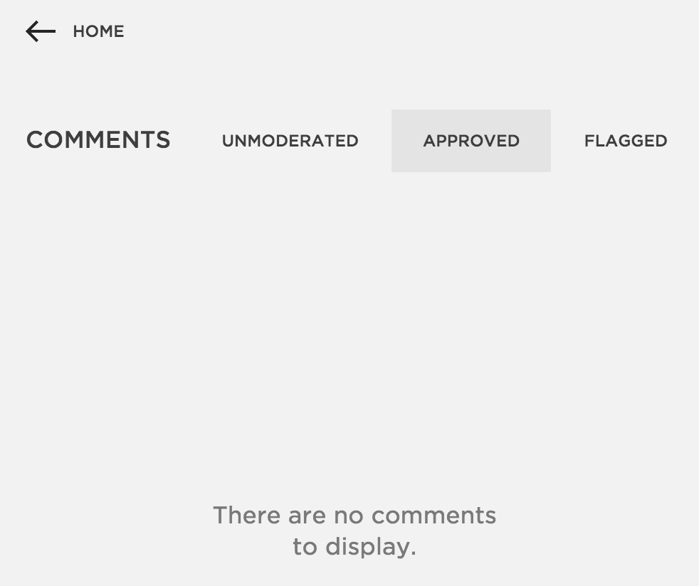 Comments menu