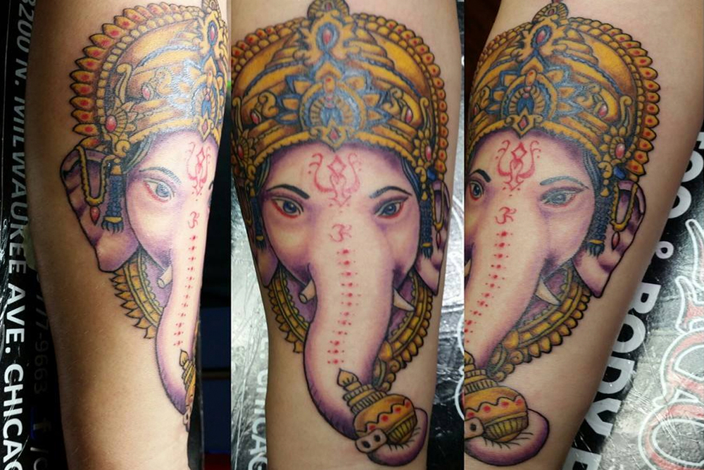 Elephant color tattoo