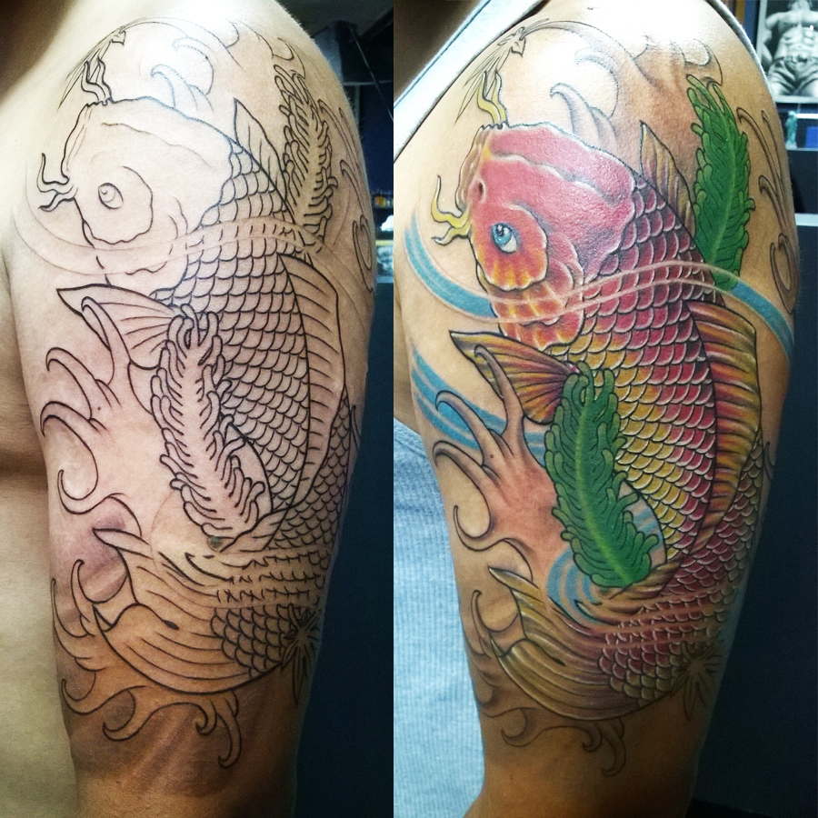 koi fish outline and colors
