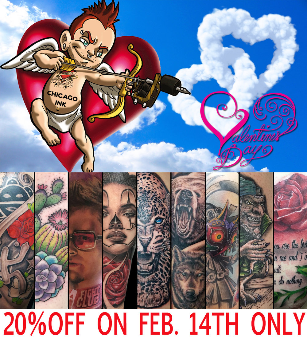 "MAKE YOUR APPOINTMENT AND GET 20%OFF ALL TATTOOS    Make your appointment online or in person and mention ""Valentines Day 20% OFF Special"""
