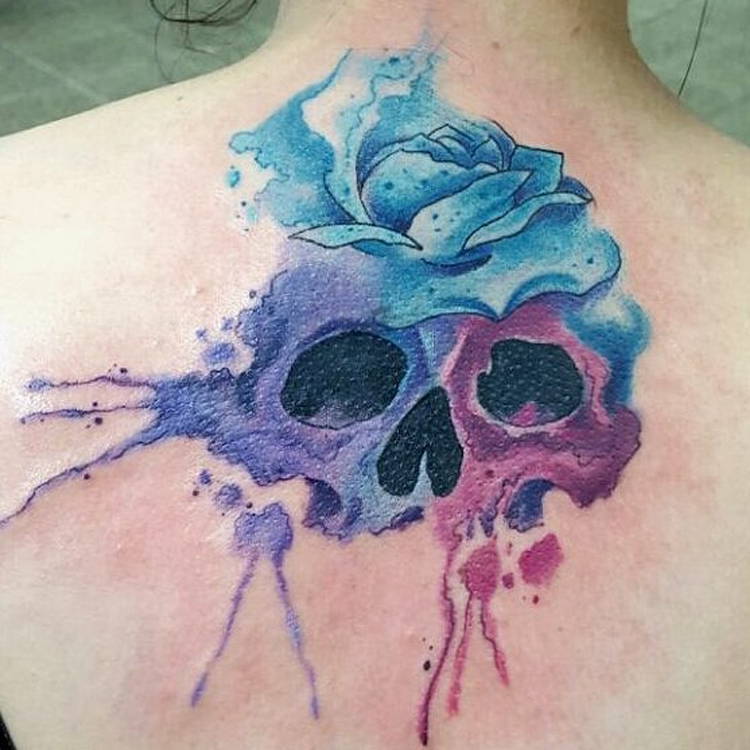 skull watercolors