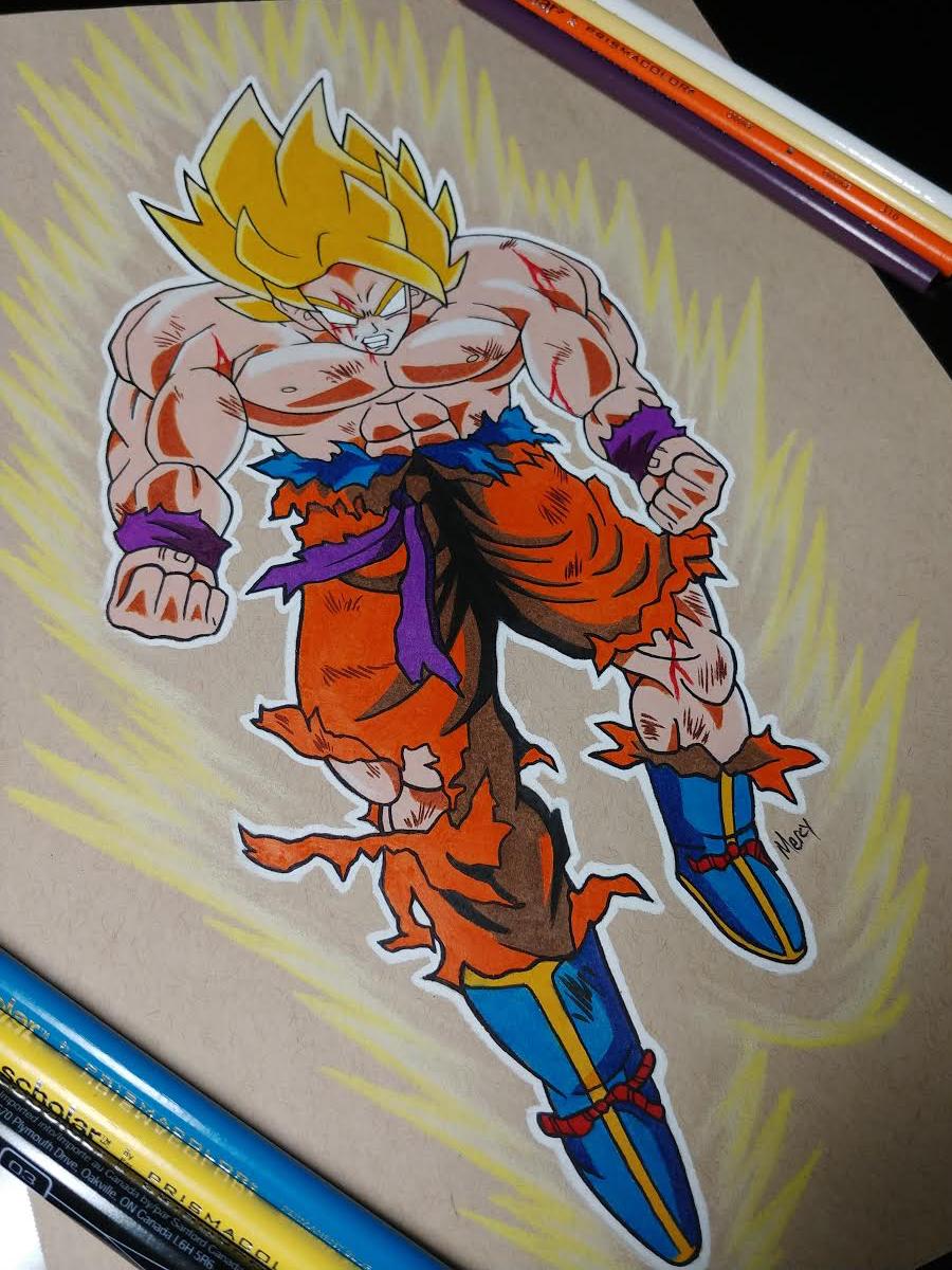 Drawing Goku.
