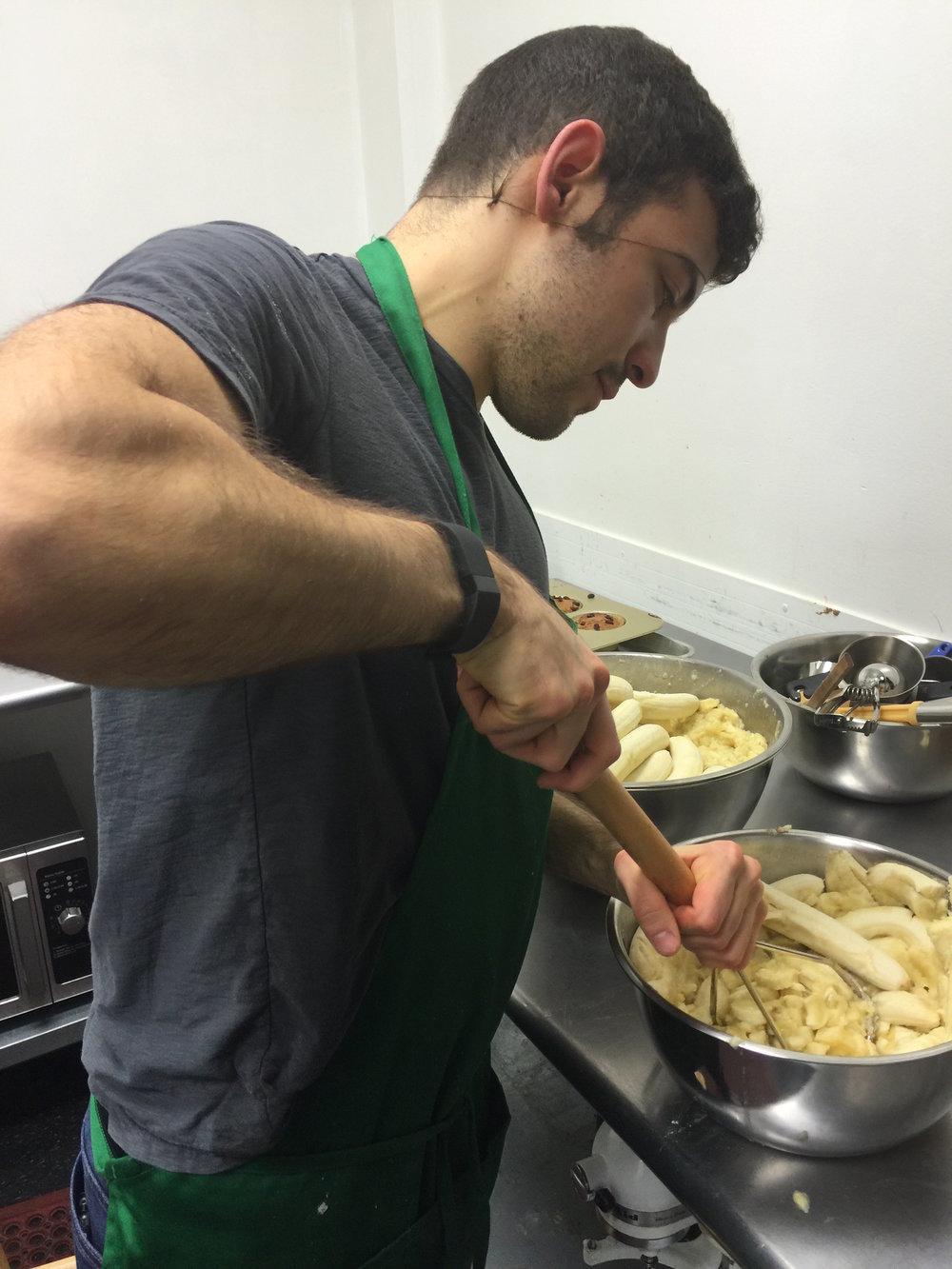 Zach Baking Muffins
