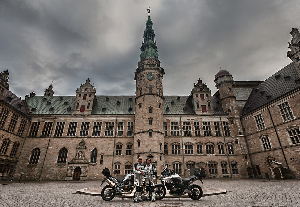 Kronborg Castle with motorcycles V12 1000pxw.jpg