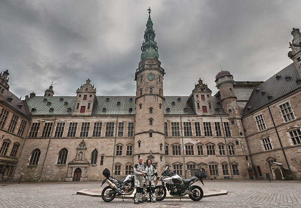 First Motorcycles ever (that we know of) to Grace the Inner Courtyard of Kronborg Castle
