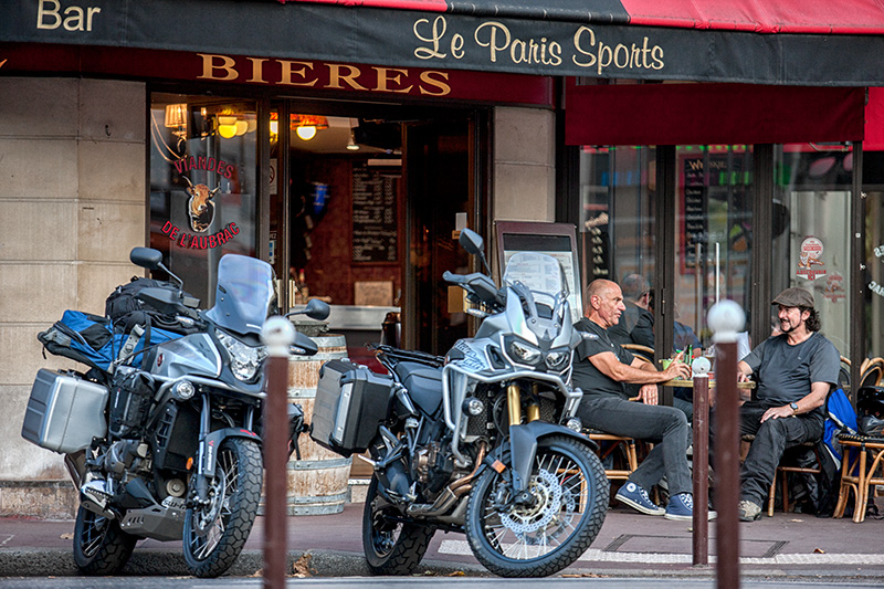Pre flight Paris Cafe and the bikes Geri (Africa Twin) and Freki (VFR1200X)