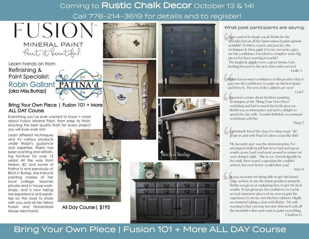 fusion 101 +bring your own piece Kelowna mineral paint workshop