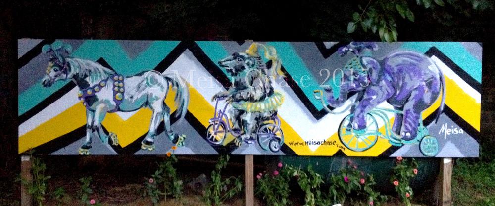 """Circus Wheels"" Mural by Meisa Chase @ Atlas Street Garden. HBG, PA"