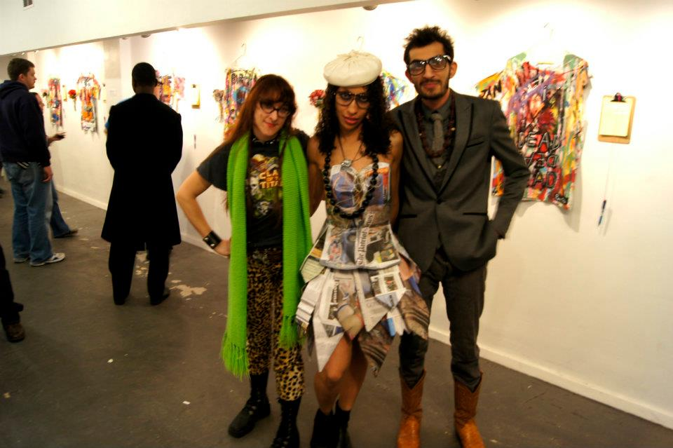 Head Costume Designer Meisa Chase (R) with artist Reina Wooden and Designer (L) Jawad Anwar