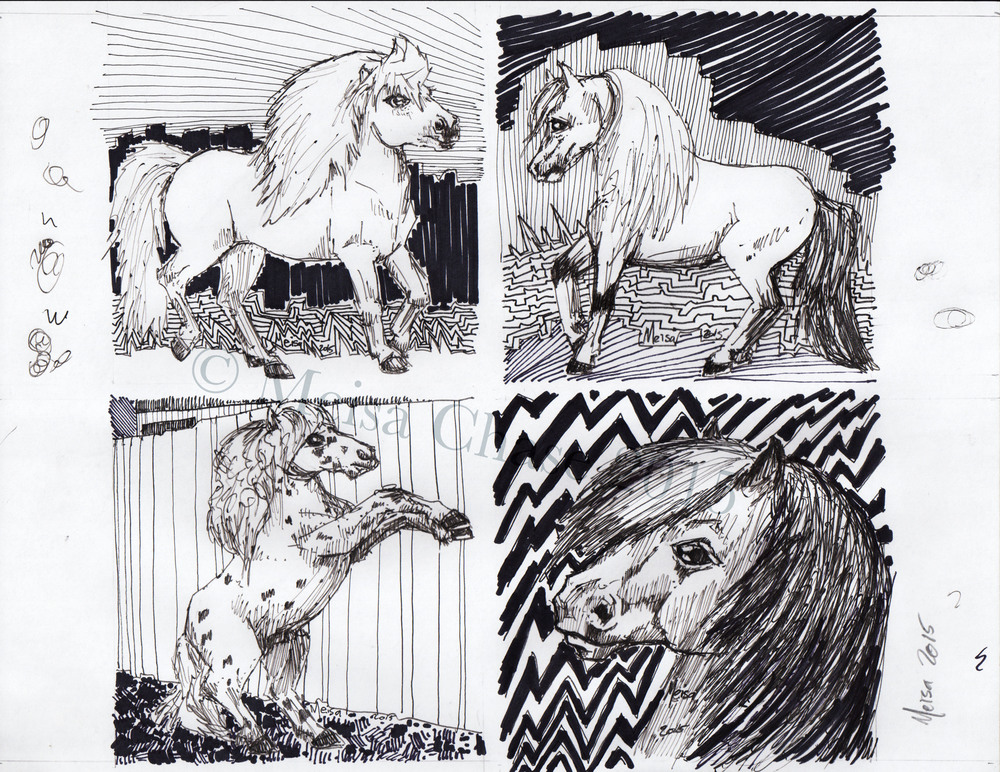 mini horse x 4 sample sheet
