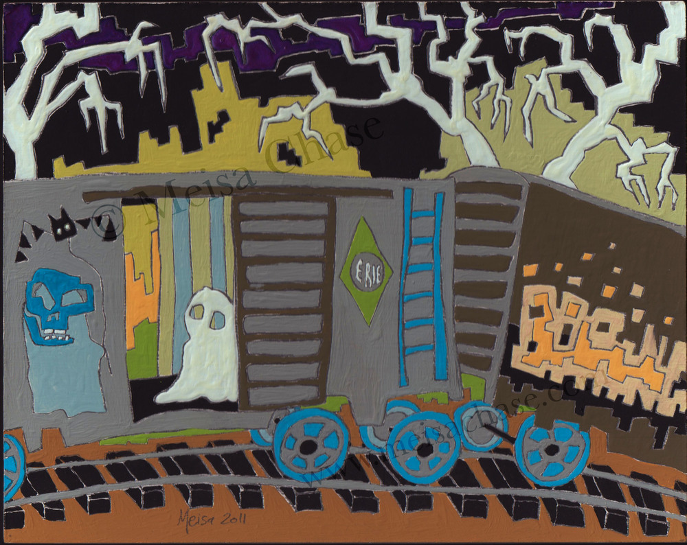 Meisa Chase. Fright Train. Inquire if interested in this hand painted and framed original. 2011