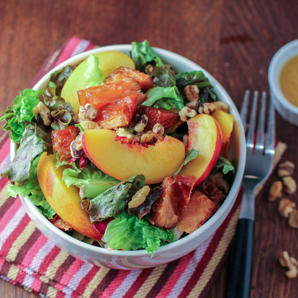 Nectarine and salmon salad