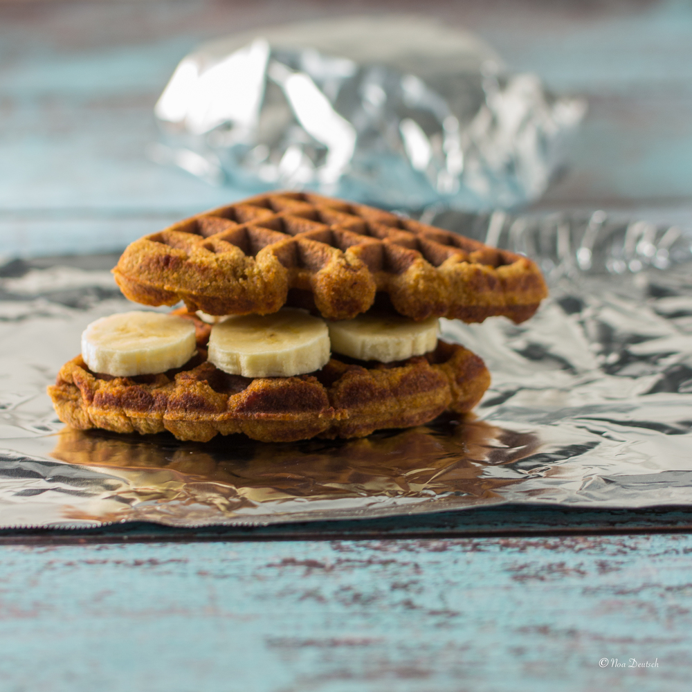 Pumpkin and coconut waffle 'sandwiches'
