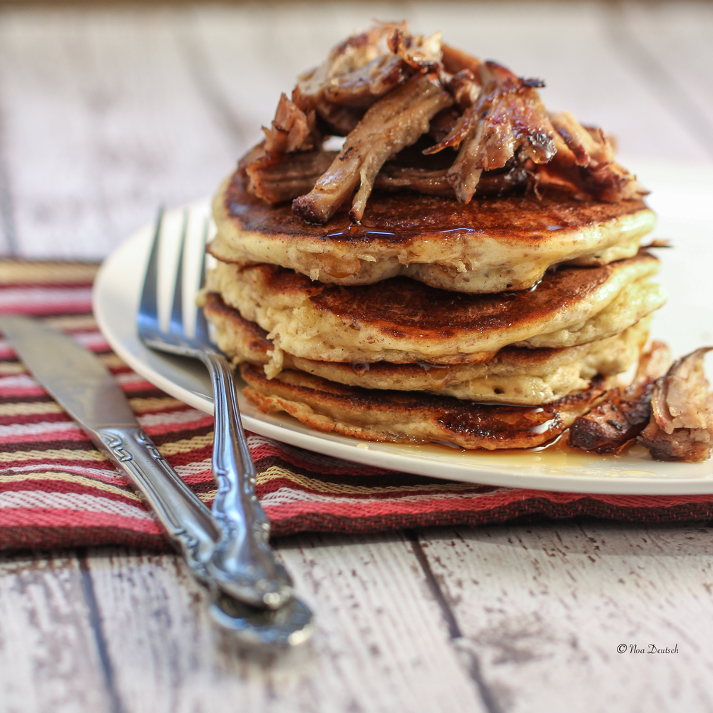 Pancakes topped with pulled pork