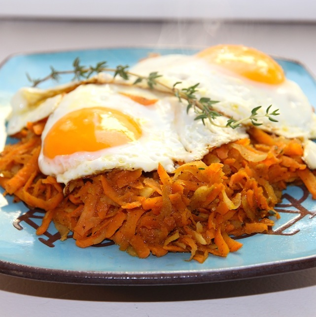 Rutabaga and yam hash with eggs