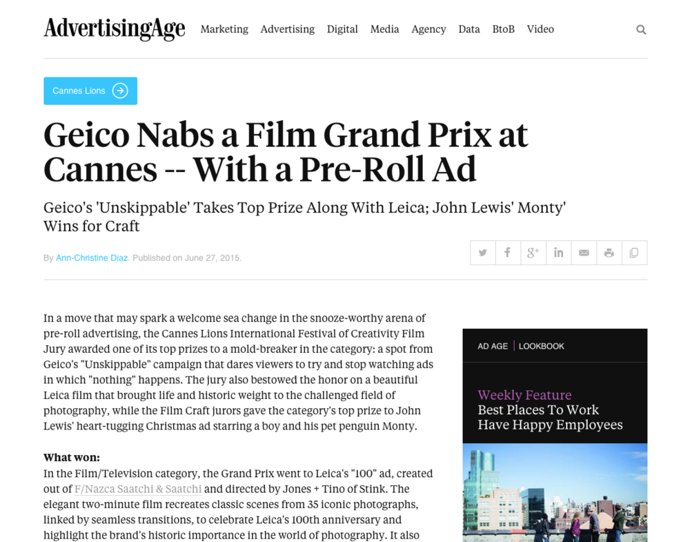 Geico Nabs a Film Grand Prix at Cannes