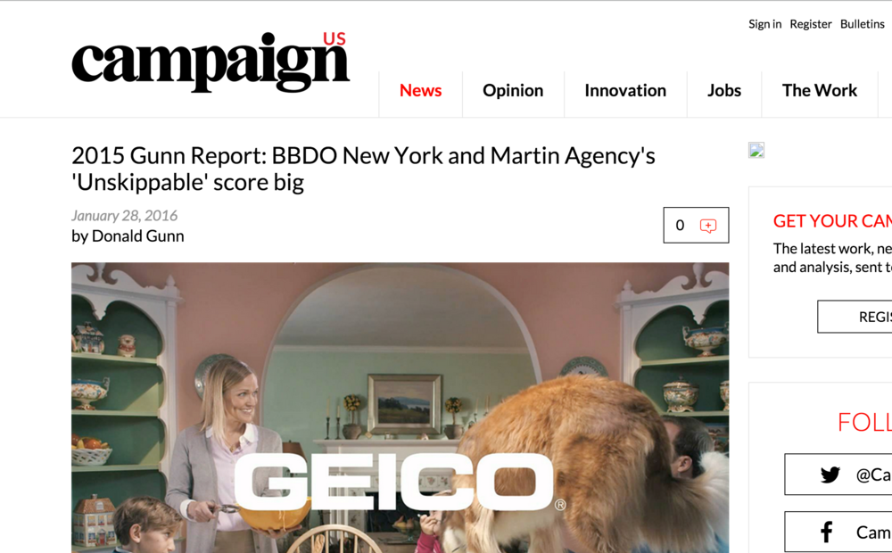 Martin Agency's 'Unskippable' score big