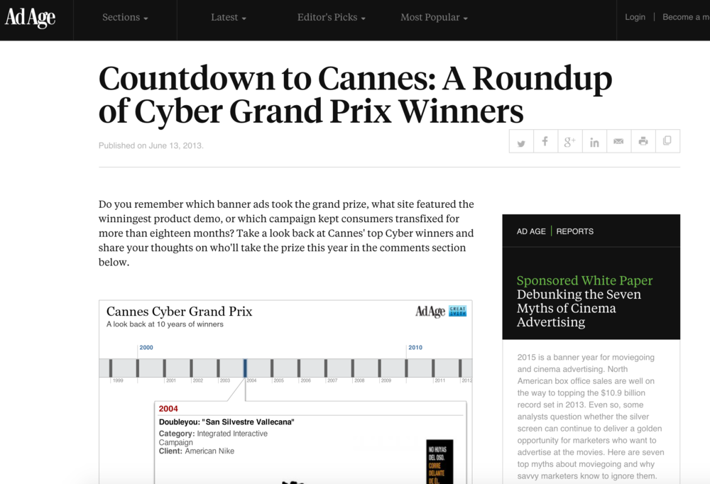 A roundup of Cyber Grand Prix Winners: Nike