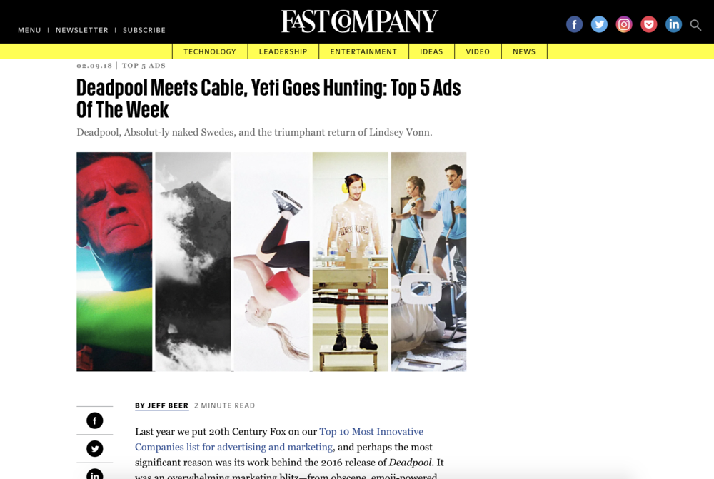Interrupt-a-palooza on Fast Company Top 5 Ads
