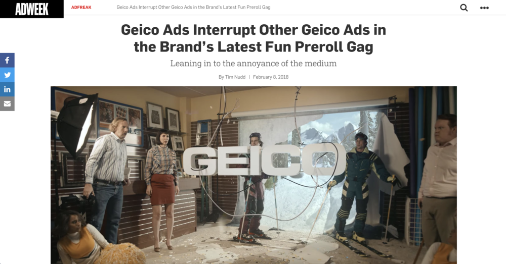 GEICO Ads Interrupt Other GEICO Ads