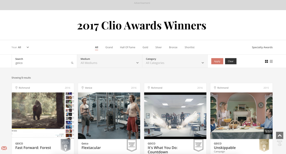 GEICO's Fast Forward wins Clio's Silver