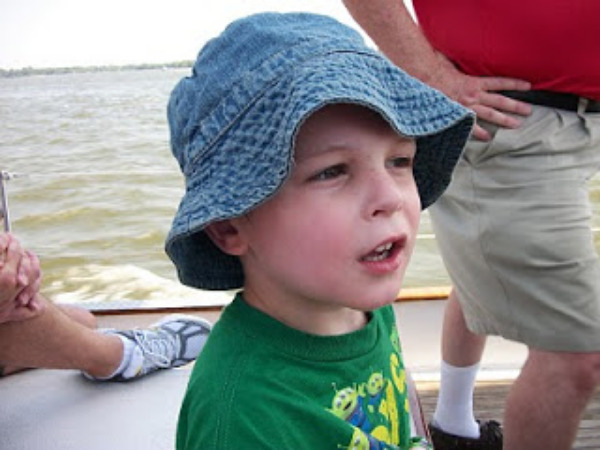 Gary LOVED everything about the schooner, especially his cool new blue sailing hat.
