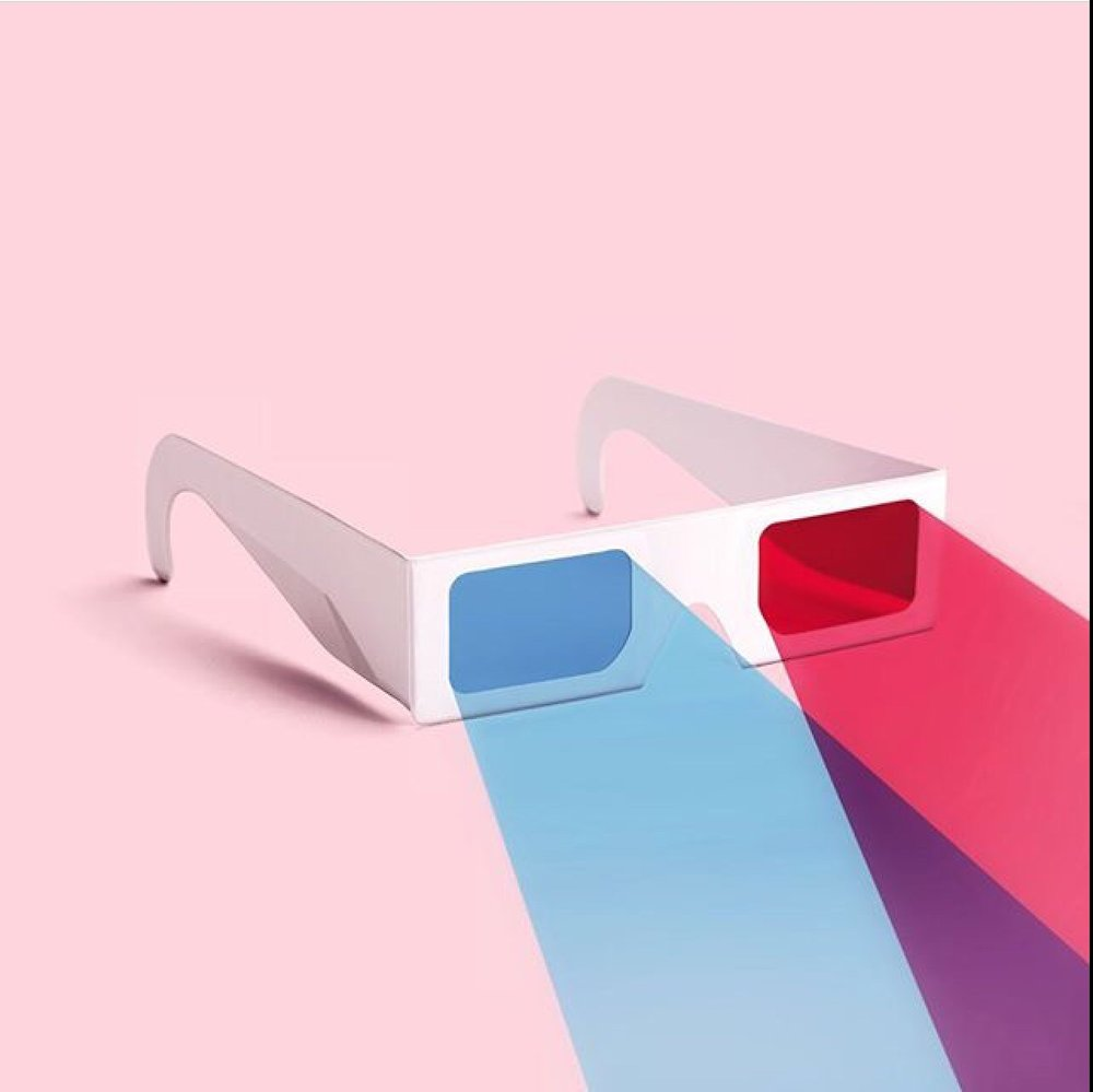 This wonderful artwork, 3d glasses, by Paul Fuentes. He sells prints and other art merchandise on Society6. Check out his Instagram @pauleFuentes_design