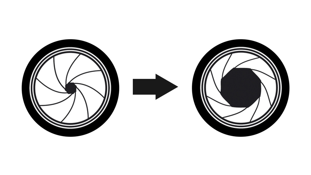 Simplified drawing of two camera lens apertures or iris. The left aperture has a small diameter. The right aperture has a larger diameter. An arrow connects the left aperture to the right aperture signifying a change in aperture diameter and therefore depth of field.