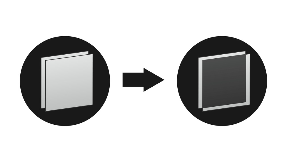 Simplified drawing of two light filters, each comprised of two polarizing filters. The left light filter is at maximum light transmission. The right light filter is at minimum light transmission. An arrow connects the left light filter to the right light filter signifying a change in light transmission to counteract the change in exposure caused by varying the aperture diameter.