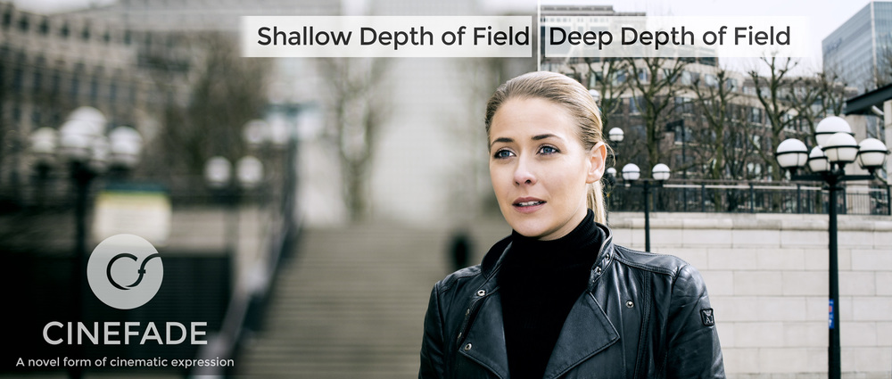 Image of a woman looking into the distance. The left side of the background behind her is rendered blurry with a shallow depth of field. The other half is in focus with a deep depth of field. This image simulates the Cinefade effect in a still image.