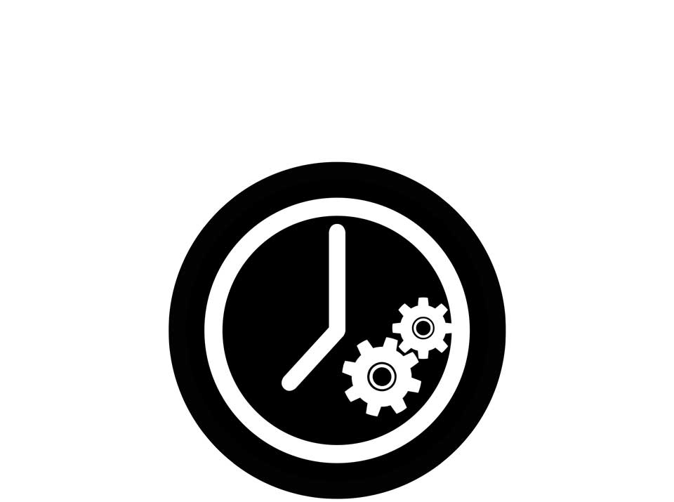 Icon of a simplified clock with two gear wheels on the dial, signifying the speed and ease of calibrating the Cinefade system.