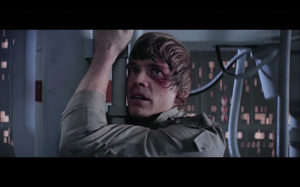 Screenshot from Star Wars Episode 5. A Cinefade could be used on this shot to accentuate the moment of extreme drama.