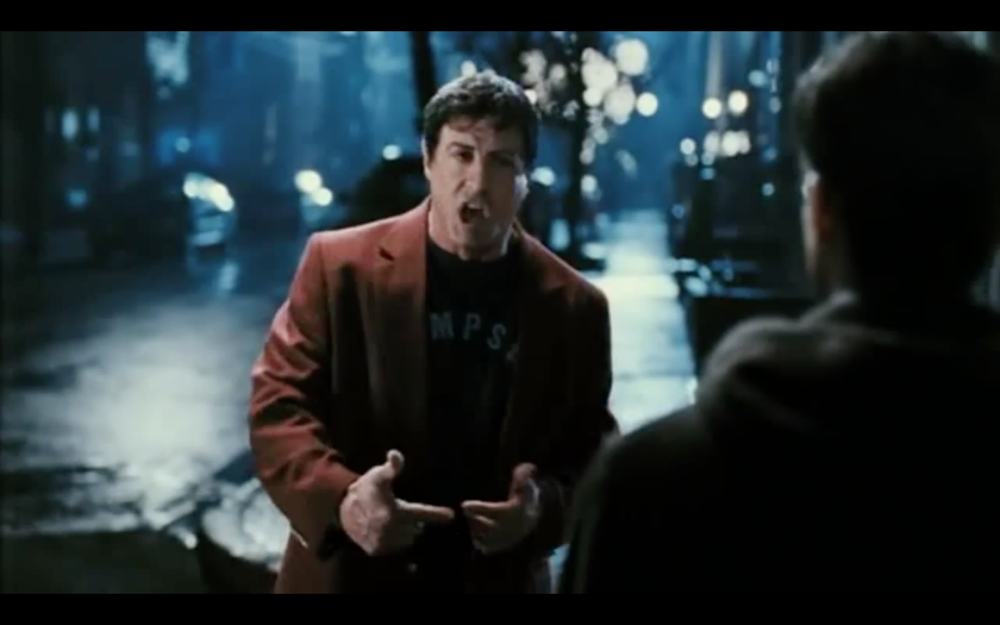 Screenshot from the film Rocky. A Cinefade could be used in this shot to accentuate his monologue and draw the viewer in.