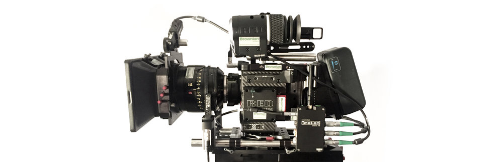 Full Cinefade set up with cmotion Lens Control System connected to iris and variable ND light filter on Sony F55 camera
