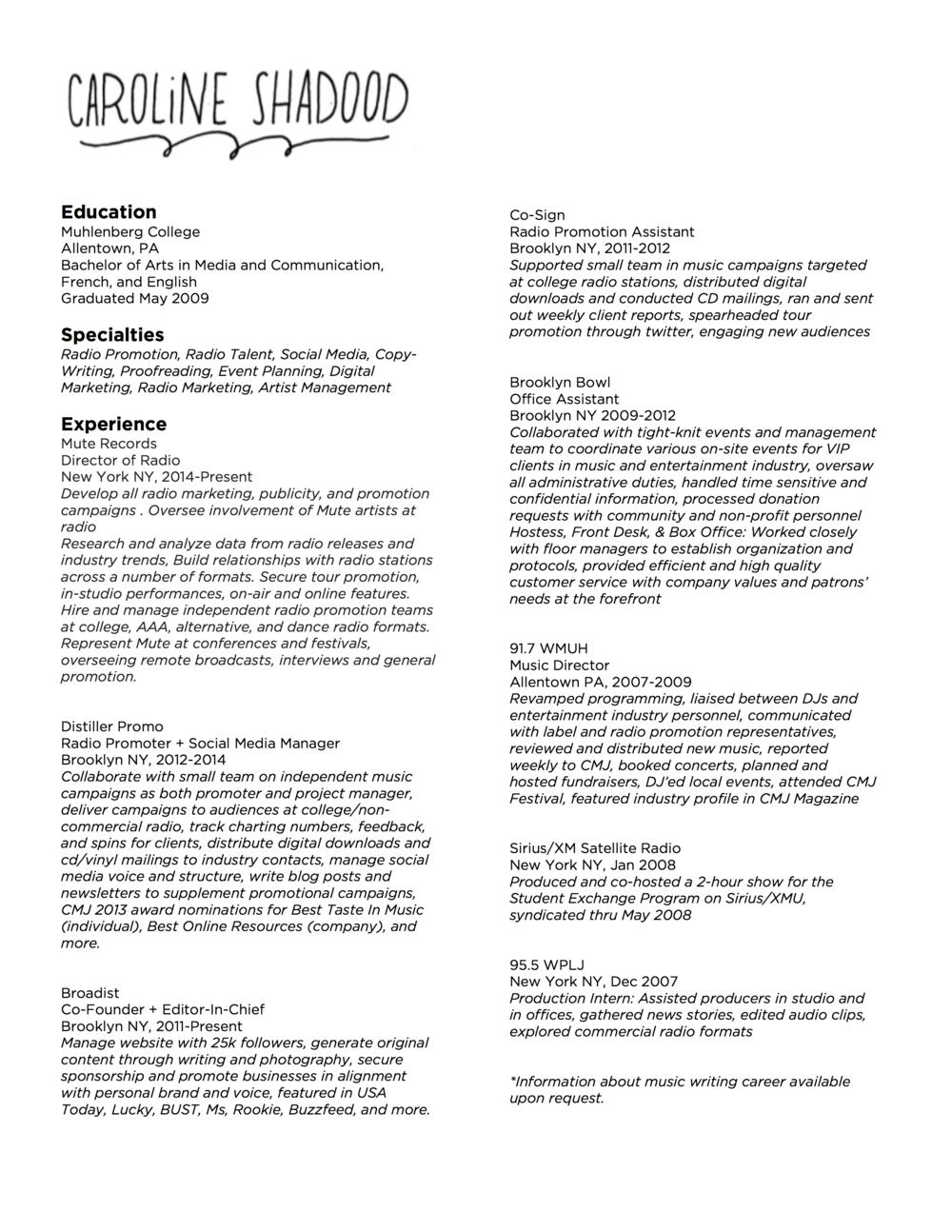 Resume — Caroline Shadood