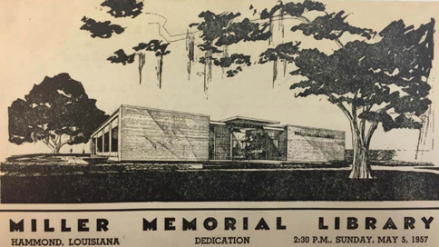 INTERNATIONAL STYLE:  John Desmond. Illustration of Miller Memorial Library, Hammond, LA, 1956-57. Dedication flyer, 1957. Louisiana National Register of Historic Places Database.