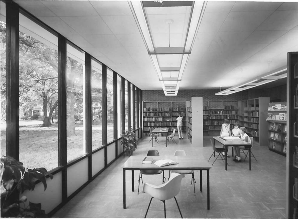 John Desmond, interior, miller memorial library, 1957, hammond, la, John Desmond Papers, Louisiana and Lower Mississippi Valley Collections, LSU Libraries.