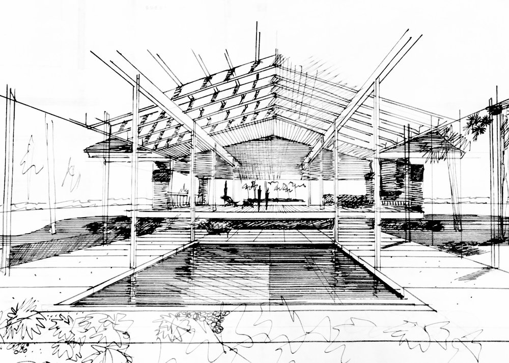 John Desmond, interior rendering, baxter residence, hammond, la, John Desmond Papers, Louisiana and Lower Mississippi Valley Collections, LSU Libraries.