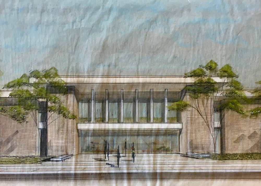 John Desmond, city hall rendering, hammond, la, John Desmond Papers, Louisiana and Lower Mississippi Valley Collections, LSU Libraries.