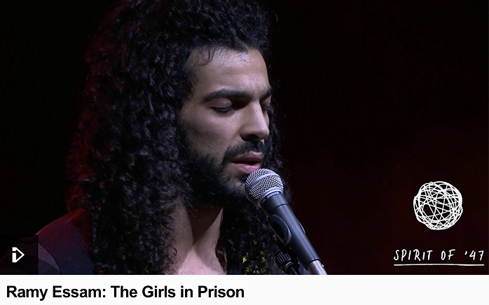 The Egyptian rock musician performs at the New European Songbook concert in Edinburgh.
