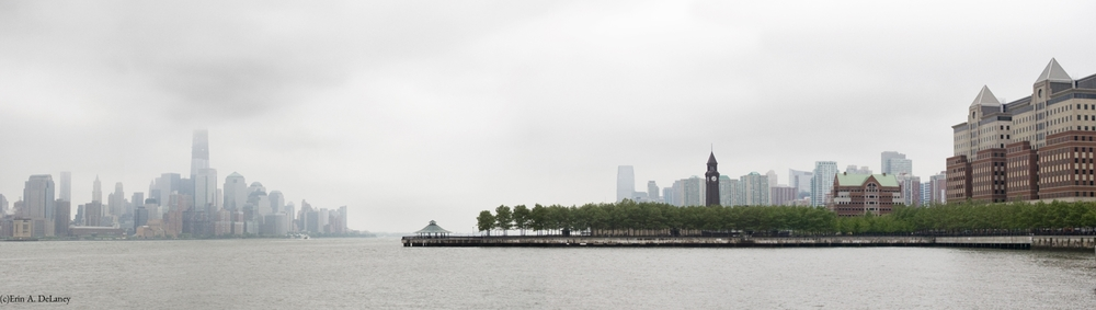NY and NJ skyline in fog, 2012