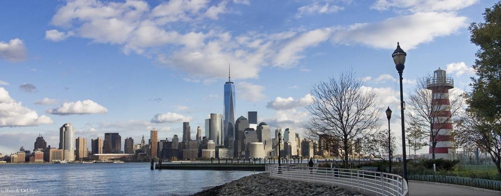 Lower Manhattan skyline with Lighthouse, 2012