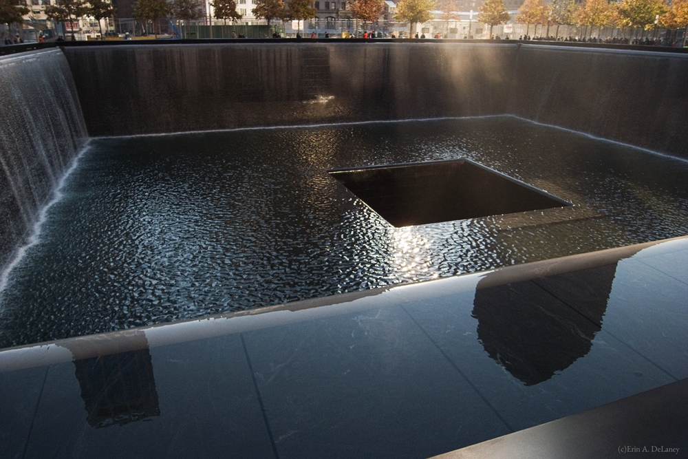 World Trade Center Memorial with Sunbeams, South Tower Pool, New York City, 2011