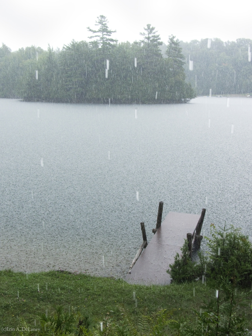 Hosmer Pond Dock in the Rain, 2012