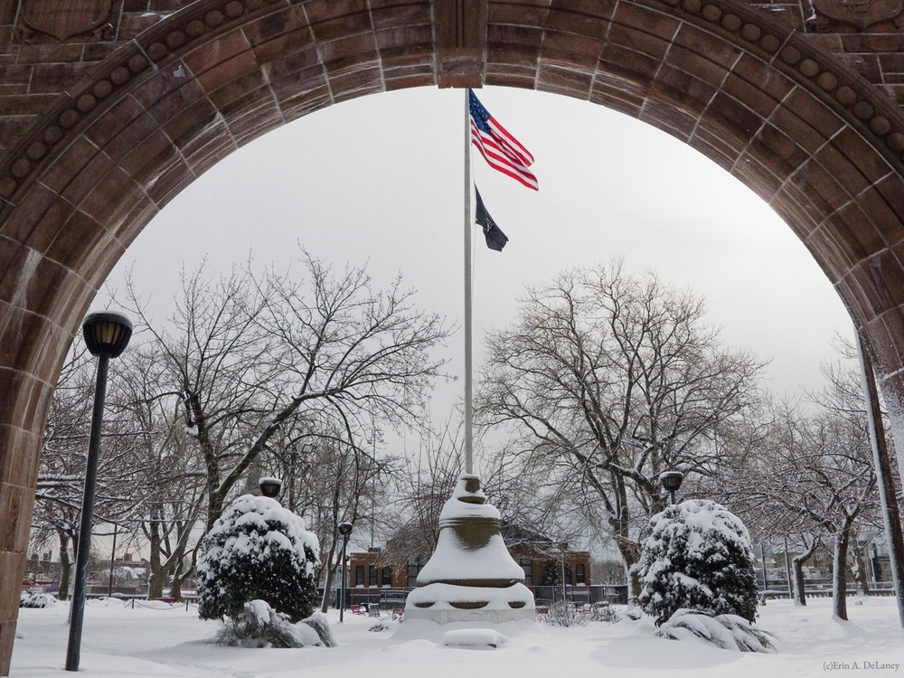 War Memorial at Pershing Field Park in Winter, 2013