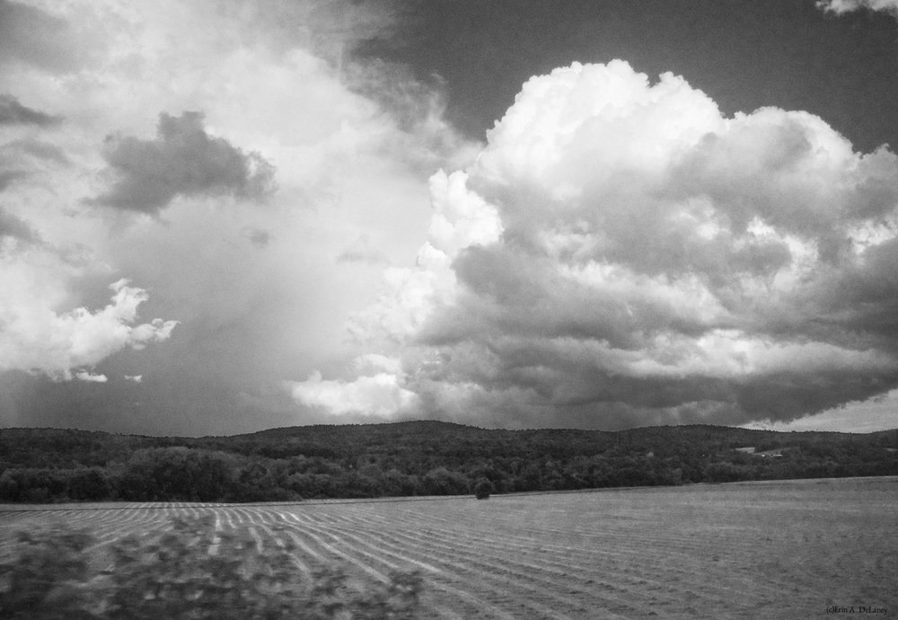 Clouds and Fields Vermont, Black and White, 2014