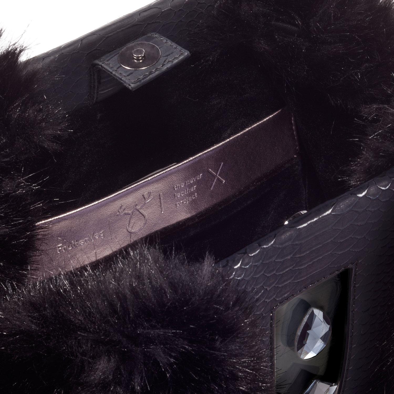 KULU black — FruitenVeg vegan leather•faux fur bag 3c5b63e82ed40